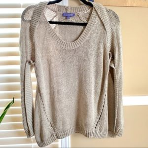 Silver Grey Knitted Cold Shoulder Slouchy Sweater